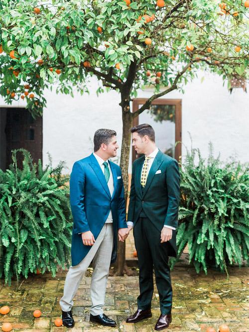 Groom and Groom in Hacienda Los Angeles Wedding