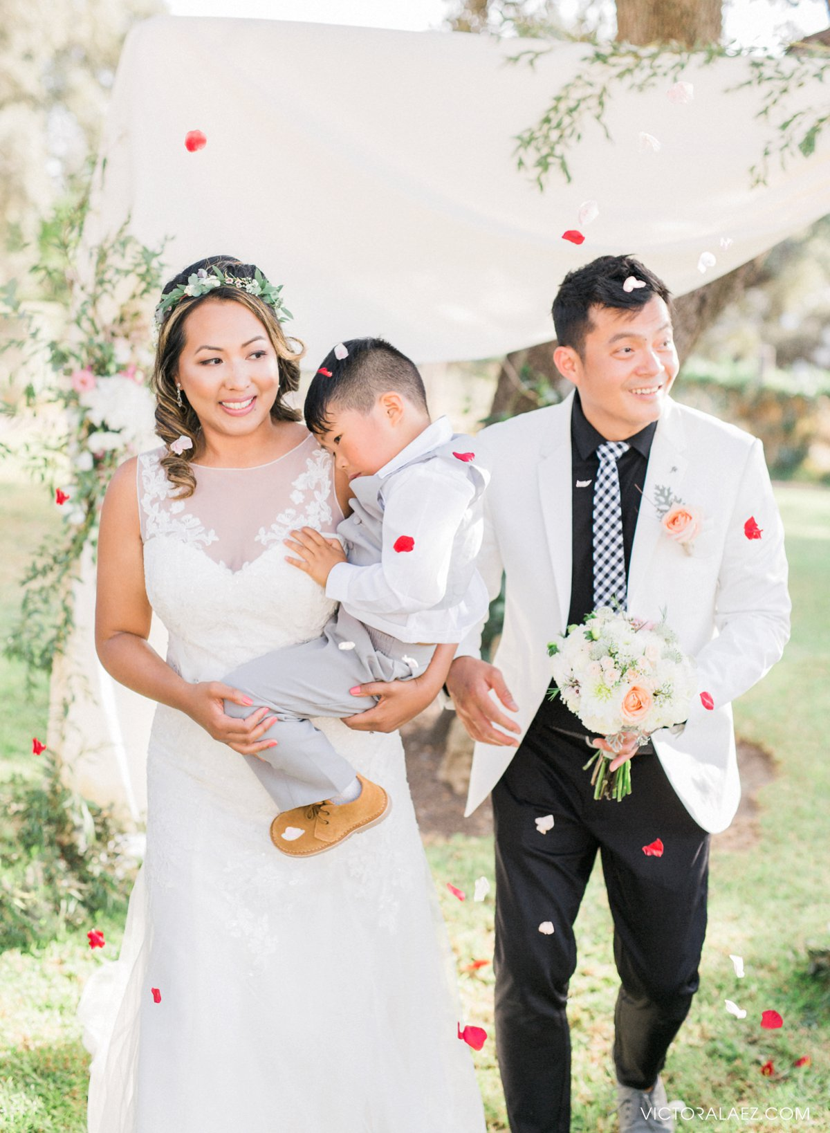Bride and Groom Recessional with Kid in Destination Wedding