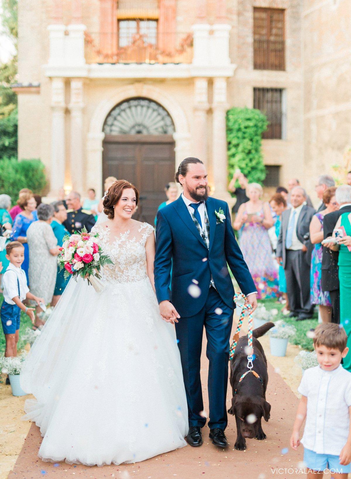 Bride and Groom Recessional in Castillo de la Monclova Wedding