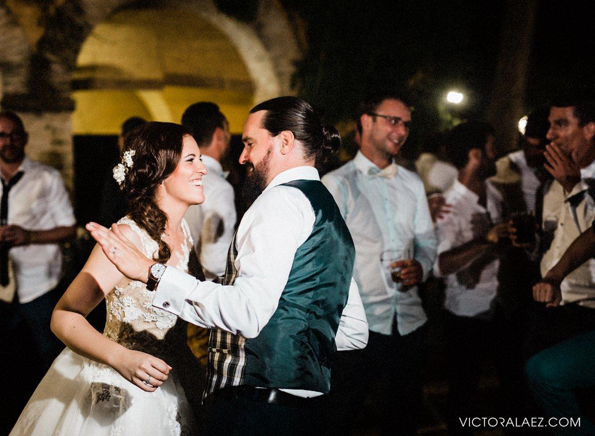 Bride and Groom Dance in Seville. Summer Wedding