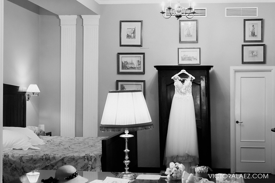 Wedding Dress in Las Casas de la Juderia Hotel Room