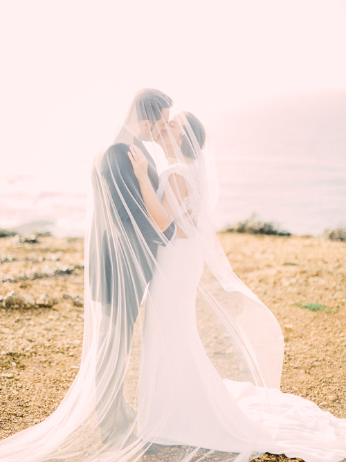 Fine Art Algarve Portugal After Wedding Shoot. Bride and Groom under the Veil