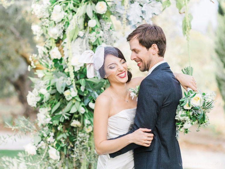 Bride and Groom Joyful Portrait in Hotel Fuente de la Higuera