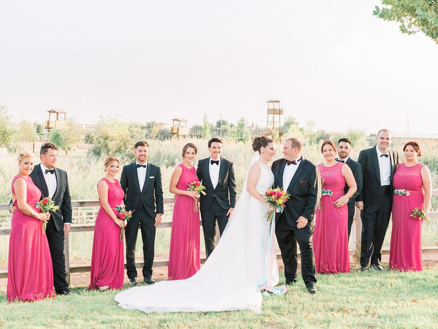 Bridal Party in Black and Pink. Beautiful Wedding in Seville