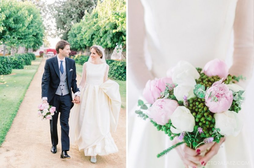 Beautiful Bridal Bouquet of Pink Peonies in Seville